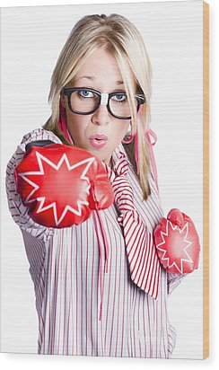 Businesswoman Training Wood Print by Jorgo Photography - Wall Art Gallery
