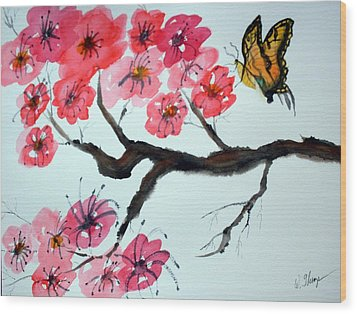 Butterfly And Blossoms Wood Print by Warren Thompson