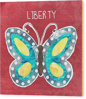 Butterfly Liberty Wood Print by Linda Woods