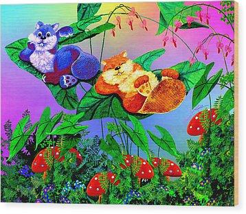 Bye-bye Beaver Buddy Wood Print by Hanne Lore Koehler