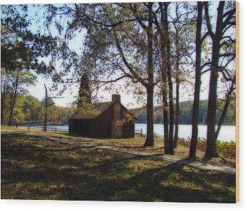 Cabin By The Lake Wood Print by Sandy Keeton