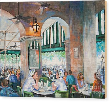 Cafe Girls Wood Print by Dianne Parks