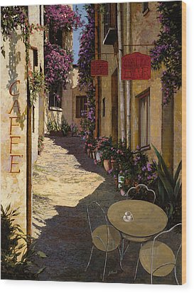 Cafe Piccolo Wood Print by Guido Borelli