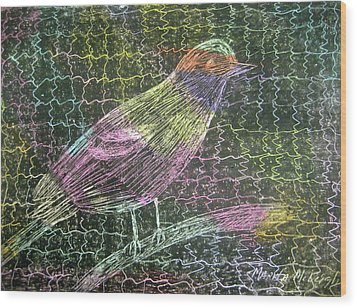 Caged Bird Wood Print by Marita McVeigh