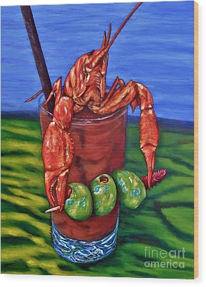 Cajun Cocktail Wood Print by JoAnn Wheeler