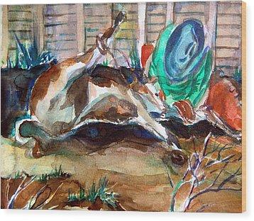 Calf Roping Wood Print by Mindy Newman