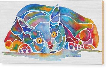 Calypso Cat Wood Print by Jo Lynch