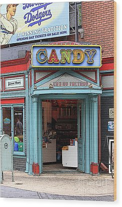 Candy Store Cartoon Wood Print by Sophie Vigneault