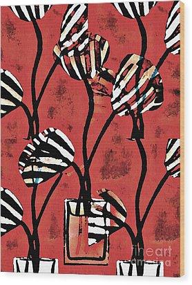 Candy Stripe Tulips 2 Wood Print by Sarah Loft