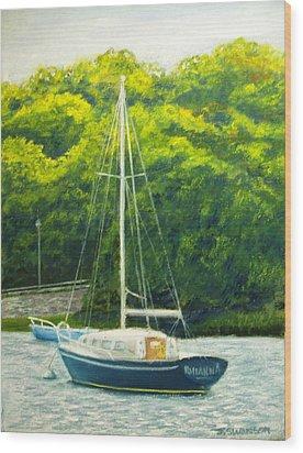 Cape Cod Sailboat Wood Print by Joan Swanson