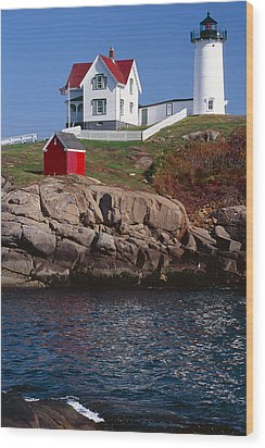 Cape Neddick Lighthouse York Maine Wood Print by George Oze