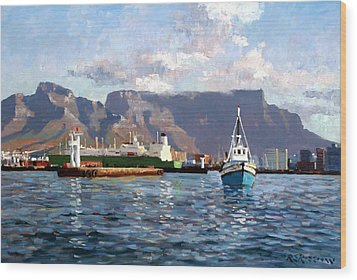 Cape Town Harbor Entrance Wood Print by Roelof Rossouw