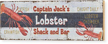 Captain Jack's Lobster Shack Wood Print by Debbie DeWitt