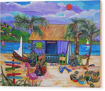 Cara's Island Time Wood Print by Patti Schermerhorn