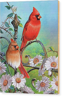 Cardinal Day 3 Wood Print by JQ Licensing