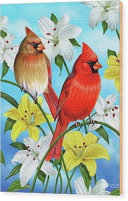 Cardinal Day Wood Print by JQ Licensing
