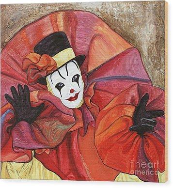 Carnival Clown Wood Print by Patty Vicknair