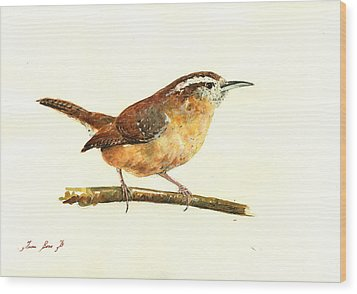 Carolina Wren Watercolor Painting Wood Print by Juan  Bosco