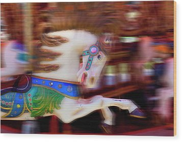 Carousel Horse In Motion Wood Print by Garry Gay