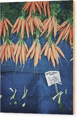Carrots At The Market Wood Print by Tom Gowanlock