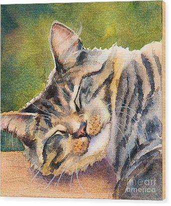 Cat Nap Wood Print by Bonnie Rinier