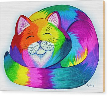 Cat Napping Wood Print by Nick Gustafson