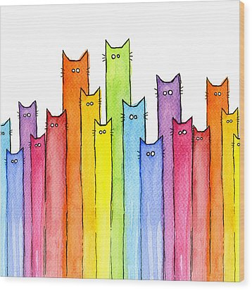 Cat Rainbow Pattern Wood Print by Olga Shvartsur