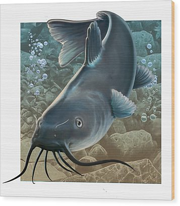 Catfish Wood Print by Valer Ian