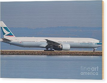 Cathay Pacific Airlines Jet Airplane At San Francisco International Airport Sfo . 7d11882 Wood Print by Wingsdomain Art and Photography