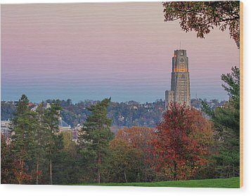 Cathedral Of Learning Wood Print by Emmanuel Panagiotakis
