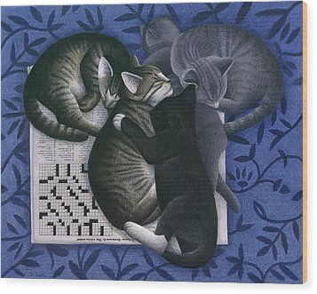 Cats And Crossword  Wood Print by Carol Wilson