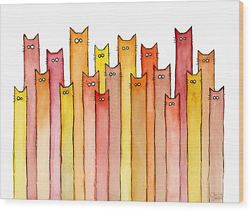 Cats Autumn Colors Wood Print by Olga Shvartsur