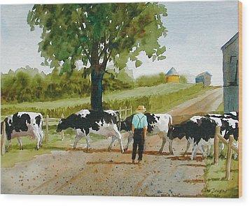 Cattle Crossing Wood Print by Faye Ziegler