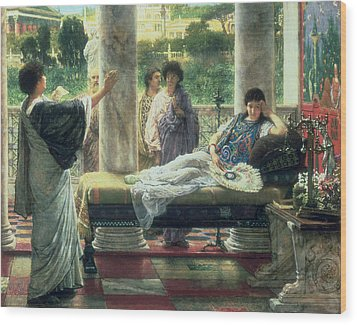 Catullus Reading His Poems Wood Print by Sir Lawrence Alma Tadema