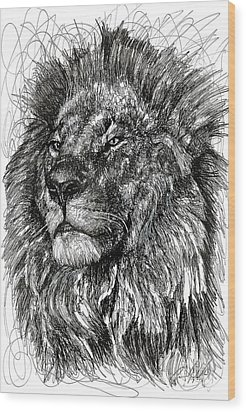 Cecil The Lion Wood Print by Michael  Volpicelli