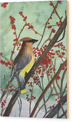 Cedar Wax Wing Wood Print by Sharon Farber