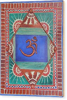 Celebrating Om Wood Print by Sandhya Manne