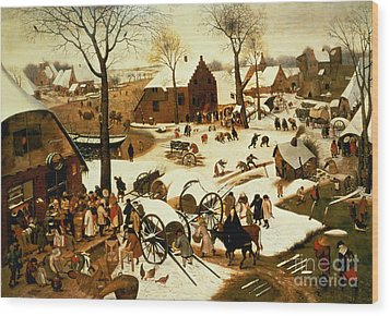 Census At Bethlehem Wood Print by Pieter the Elder Bruegel