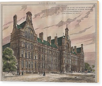 Central Institution Of The Cityy And Guilds Of London And Technical Education. London. 1881 Wood Print by Alfred Waterhouse