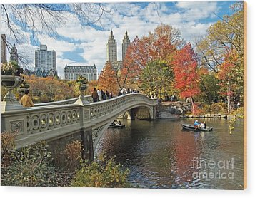 Central Park Autumn Cityscape Wood Print by Allan Einhorn