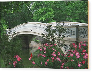 Central Park Bow Bridge In Spring Wood Print by Christopher Kirby