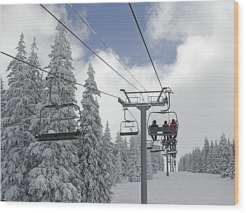 Chairlift At Vail Resort - Colorado Wood Print by Brendan Reals
