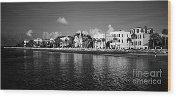 Charleston Battery Row Black And White Wood Print by Dustin K Ryan