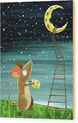 Cheese Moon  Wood Print by Andrew Hitchen
