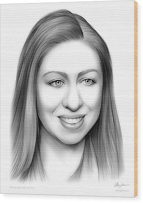 Chelsea Clinton Wood Print by Greg Joens
