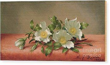 Cherokee Roses Wood Print by Martin Johnson Heade