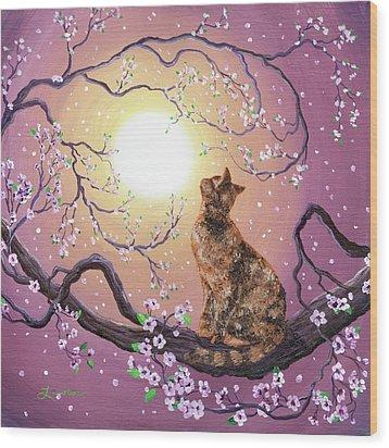 Cherry Blossom Waltz  Wood Print by Laura Iverson