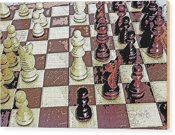 Chess Board - Game In Progress 1 Wood Print by Steve Ohlsen
