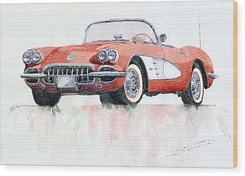 Chevrolet Corvette C1 1960  Wood Print by Yuriy  Shevchuk
