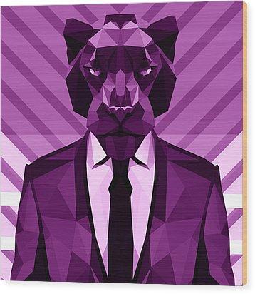 Chevron Panther Wood Print by Filip Aleksandrov
